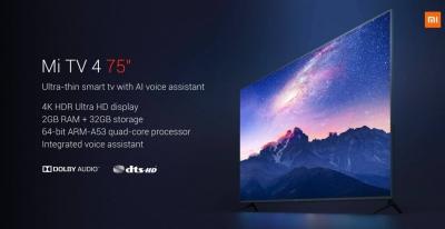 Xiaomi представила крутой 75-дюймовый телевизор с поддержкой 4K HDR